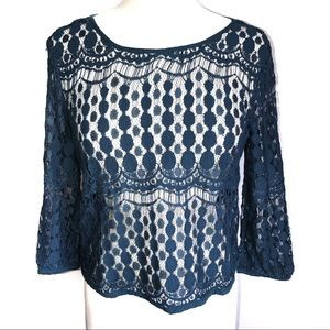 Andree Dark Teal Crochet Lace Overlay Blouse  Sz M